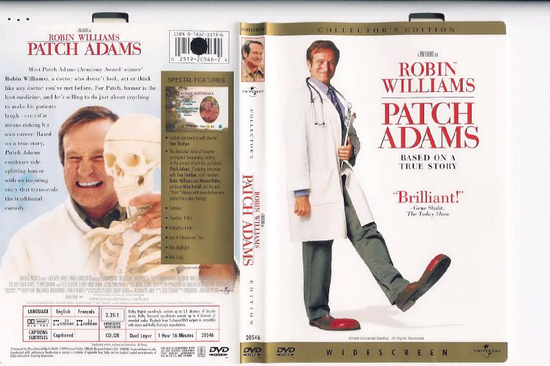 Patch Adams (1998) WS CE R1 - Movie DVD - CD label, DVD Cover, Front Cover.
